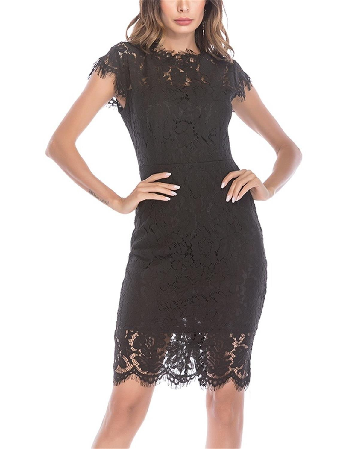 Women's Sleeveless Floral Lace Slim Evening Cocktail Mini Dress for Party DM261 (M, Black)