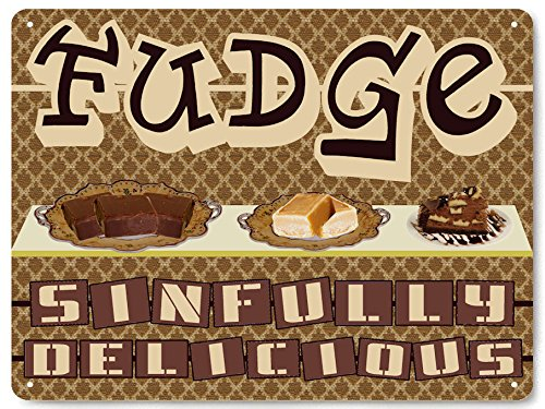 CANDY FUDGE metal sign gum suckers chocolates / STORE display / vintage style RETRO kitchen wall decor art 178