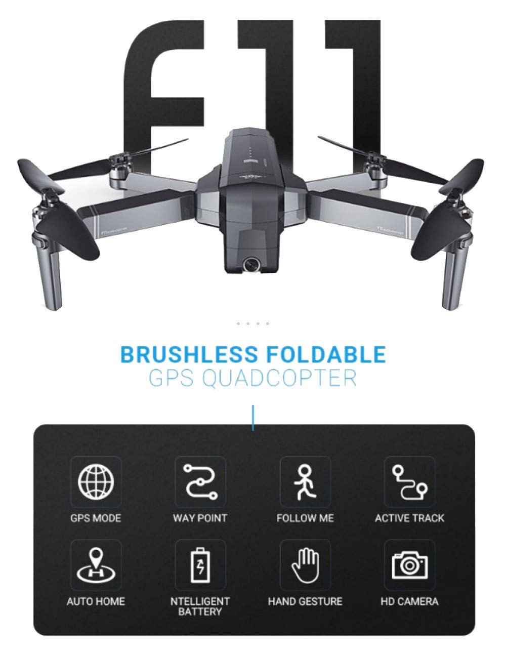 MOZATE New SJRC F11 GPS 5G WiFi FPV 1080P HD Cam Foldable Brushless RC Drone Quadcopter (Black) by MOZATE (Image #4)