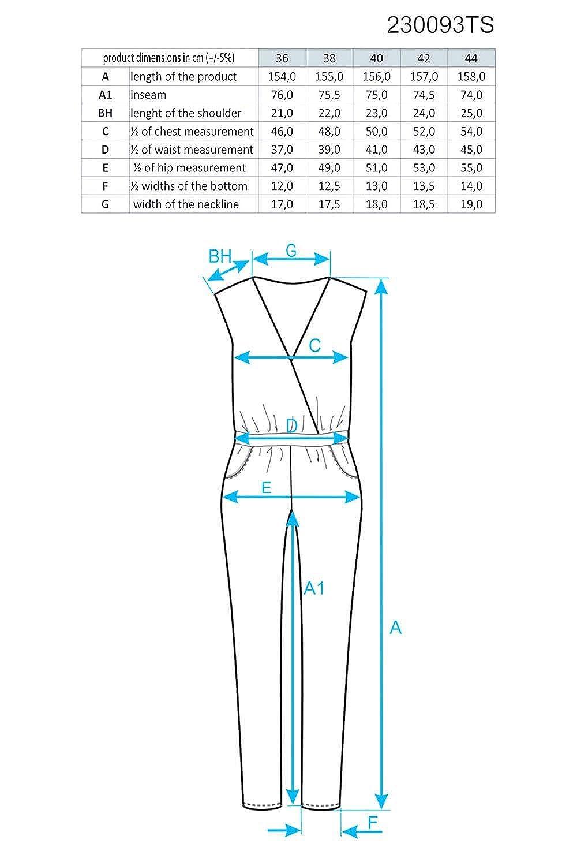 7240ef098048ad Ennywear 230093 Jumpsuit Dame Kurzarm V-Ausschnitt Overall Taschen  Reißverschluss EU, Schwarz,44: Amazon.de: Bekleidung
