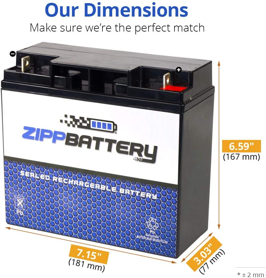 Zipp Battery SLA Replacement Battery for 12V 18AH AGM Battery Replaces wp17-12 d5745 6dzm17 lcr12v17cp ca12180