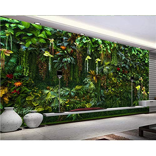 Green Rainforest Handle - Shuangklei Custom Photo Wallpaper Mural Tropical Rainforest Flower Plant Green Leaf Wall Decorative Painting Wallpaper Home Decor-400X280Cm