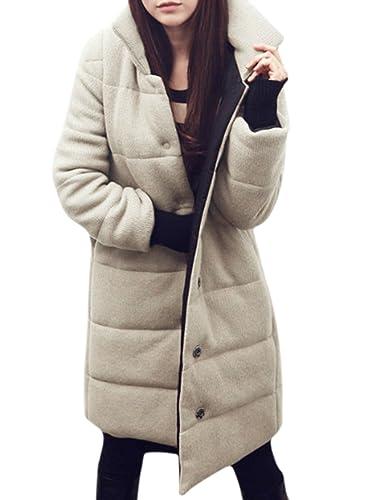 Azbro Mujer Abrigo Largo de Invierno Manga Larga Botones de Moda