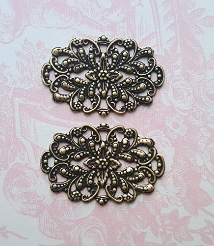 Oxidized Brass Victorian Filigree (2) - BORAT3038 ()