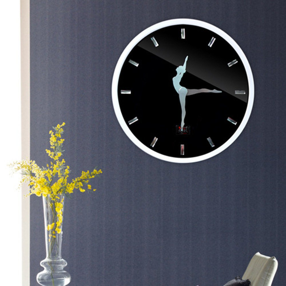 HICBOX Mute metal ballet dance wall clock (black (white))