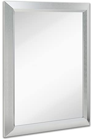 premium rectangular brushed nickel wall mirror contemporary metal frame silver backed mirrored glass vanity