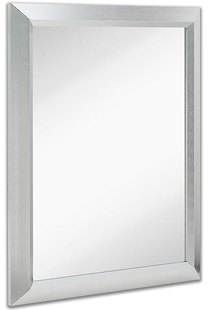amazon com premium rectangular brushed aluminum wall mirror rh amazon com large rectangle bathroom mirror rounded rectangle bathroom mirror
