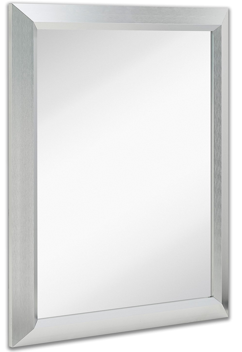 Premium Rectangular Brushed Aluminum Wall Mirror | Contemporary Metal Frame Silver Backed Mirrored Glass | Vanity, Bedroom or Bathroom | Rectangle Hangs Horizontal or Vertical (24'' x 30'')
