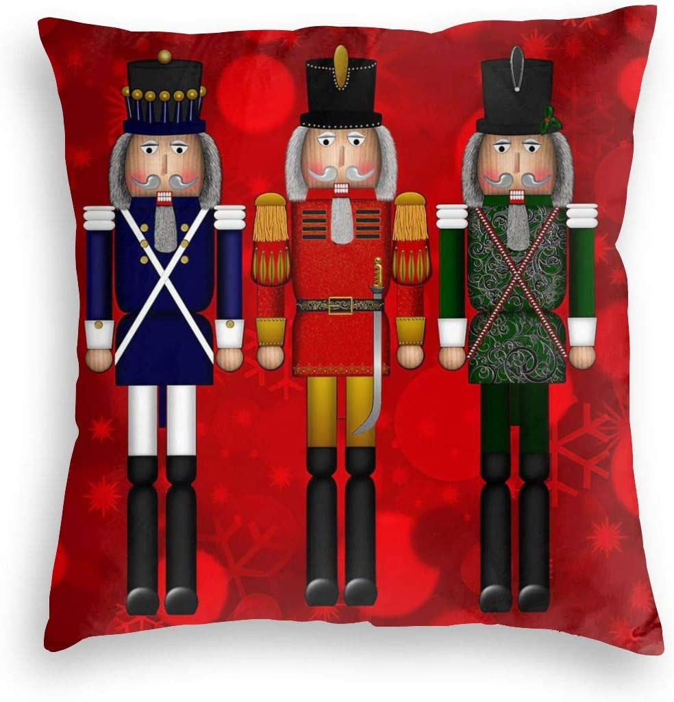 Durian Family Christmas Serious Nutcracker Red Delight Velvet Soft Square Throw Pillow Covers Home Decor Decorations Cushion Case for Indoor Sofa Bedroom Car 18 X 18 Inch