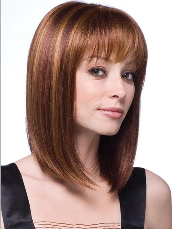 Meylee Pelucas Las pelucas de aire natural flequillo tapa peluca pelo marrón medio: Amazon.es: Deportes y aire libre