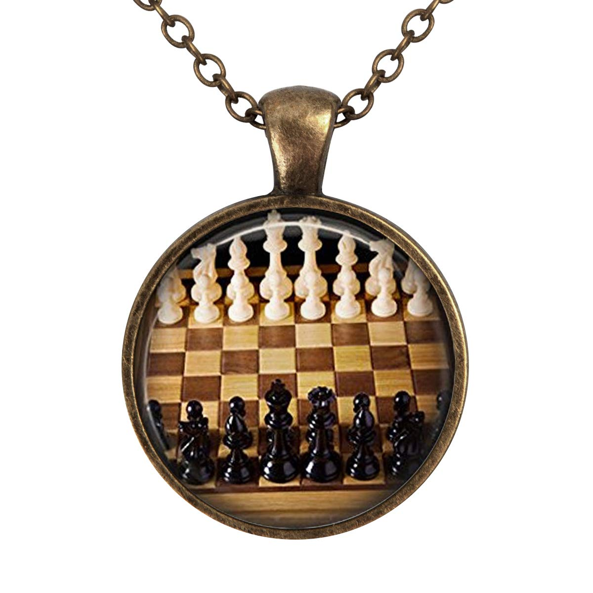 Lightrain Chess Game Pendant Necklace Vintage Bronze Chain Statement Necklace Handmade Jewelry Gifts