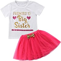 Toddler Baby Girls Short Sleeve Shirt Top Funny Letter Print Promoted To Big Sister + Pleated Sheer Skirt 2Pcs Baby Girl Summer Clothes