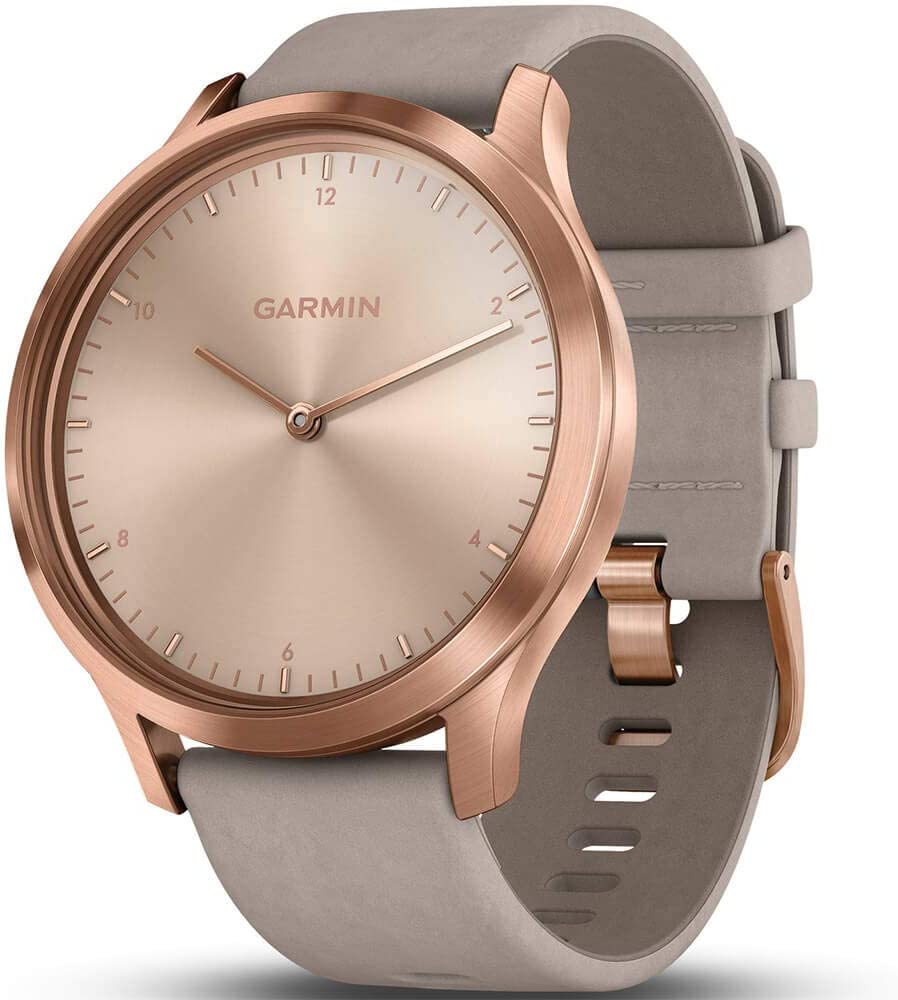 Garmin vivomove HR, Hybrid Smartwatch for Men and Women, Rose Gold with Gray Suede Band
