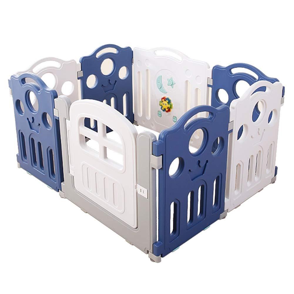 ZHANWEI ベビーサークル 屋内 安全性 転倒防止 ベビーフェンス、 高さ70cm 5サイズ (色 : ブルー+ホワイト, サイズ さいず : 8 pcs - 100x120x70cm) 8 pcs - 100x120x70cm ブルー+ホワイト B07RBWJTGC