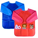 KUUQA 2 Pieces Waterproof Children's Art Smock Kids Painting Aprons with 3 Roomy Pockets (Paints and Brushes not Included)