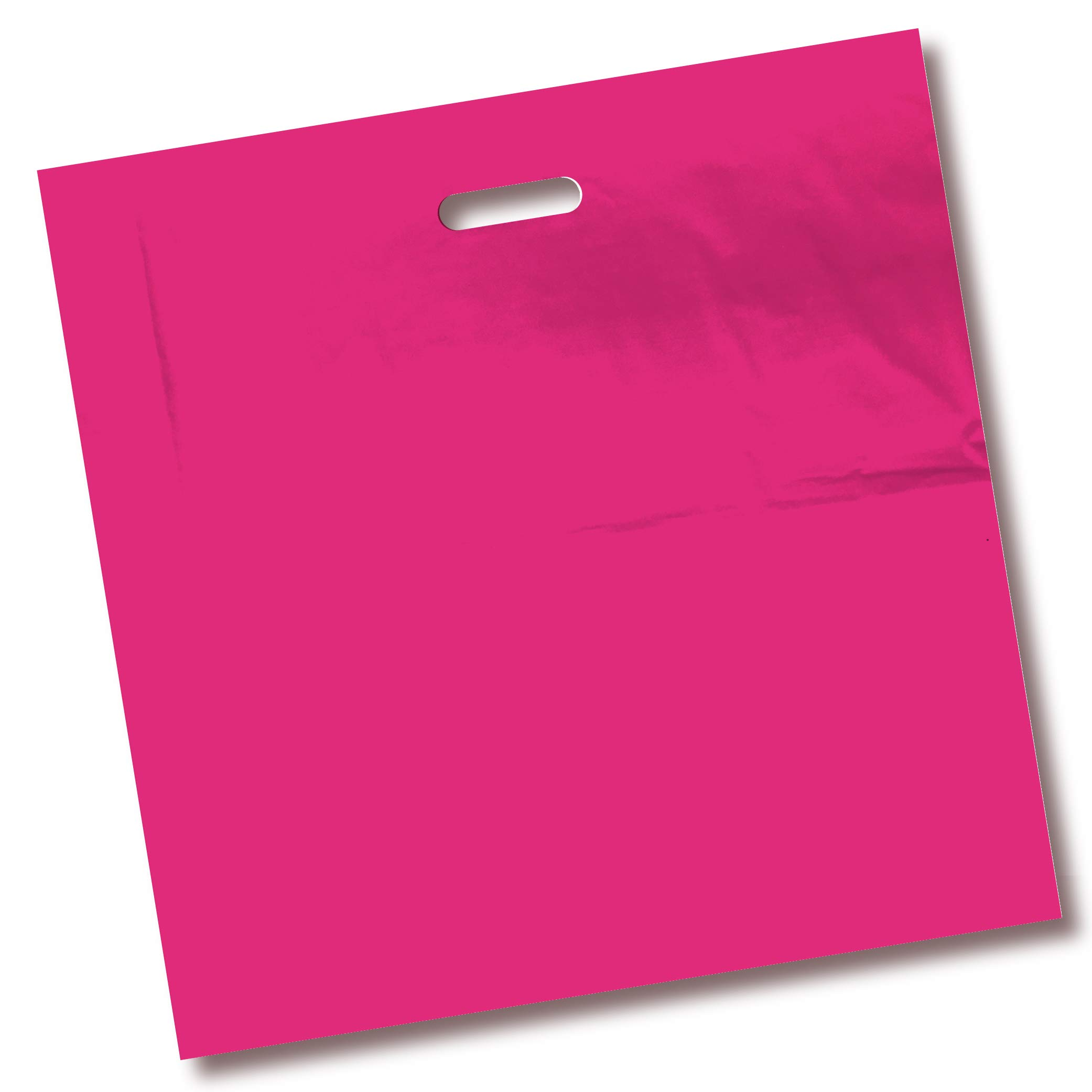 100 Pack 20'' x 20'' with 2 mil Thick Pink Merchandise Plastic Glossy Retail Bags | Die Cut Handles | Perfect for Shopping, Party Favors, Birthdays, Children Parties | Color Pink | 100% Recyclable
