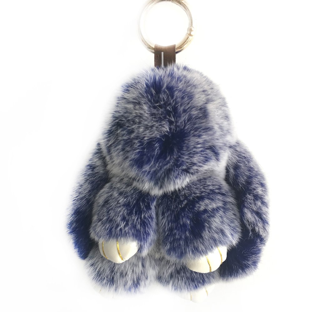 Cute Fluffy Bunny Dolls Keychain Women Purse Bag Charm Keyring Real Fur Rabbit