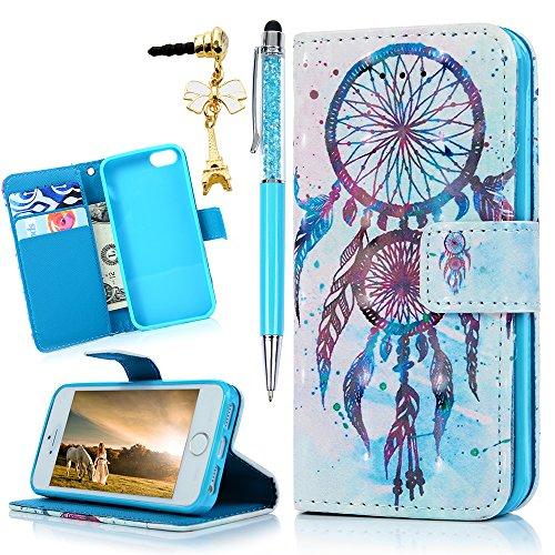MOLLYCOOCLE iPhone 5s Wallet Case, Dream Catcher PU Leather Flip Folio Wallet Case for iPhone 5&5s&Se with Slim Lightweight Shockproof TPU Bumper Cover ()