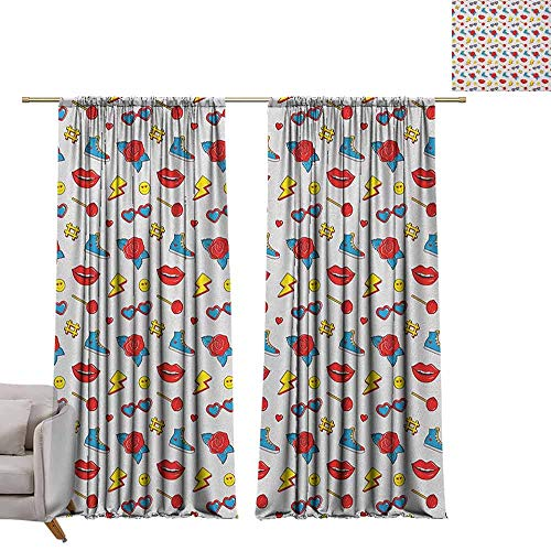 (berrly Thermal Insulated Drapes Emoji,Hipster Pop Art Theme 90s Fashion Comic Book Figures Lollipop Shoes Lips Roses, Yellow Red Blue W84 x L84 Art Grommet Curtains for Girls)