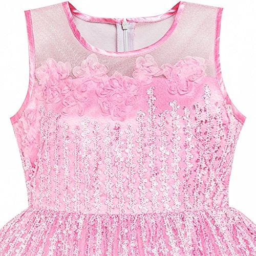 12 Illusione Giogo Del Fiore Rosa Partito Vestito Ragazze Vestono Formato Del Si 5 Ricamo Anni qwZF7Y