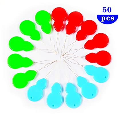 HuiYouHui 50pcs Gourd-Shaped Needle Threaders,Multicolor Stitch Insertion Hand Machine Sewing Tool DIY Needle Threader Tool
