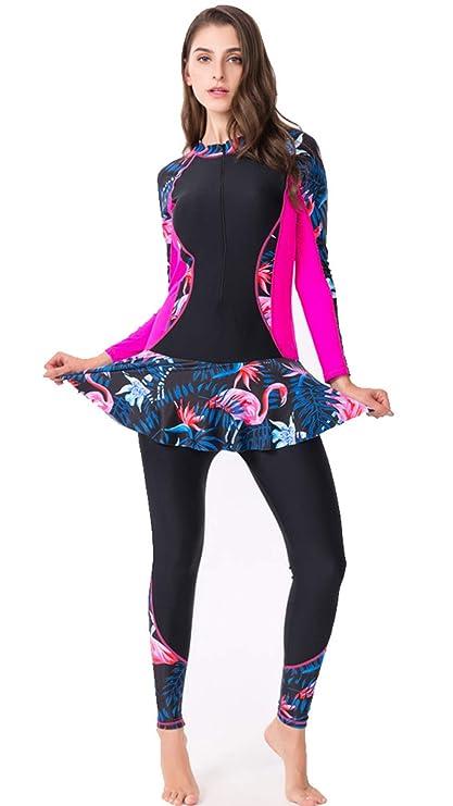 47bd8ffeba2136 Amazon.com: Xinsy Womens Plus Size One Piece Wetsuit Front Zipper Long  Sleeve Trouser Skirt Swimsuit,Black,XL: Home & Kitchen