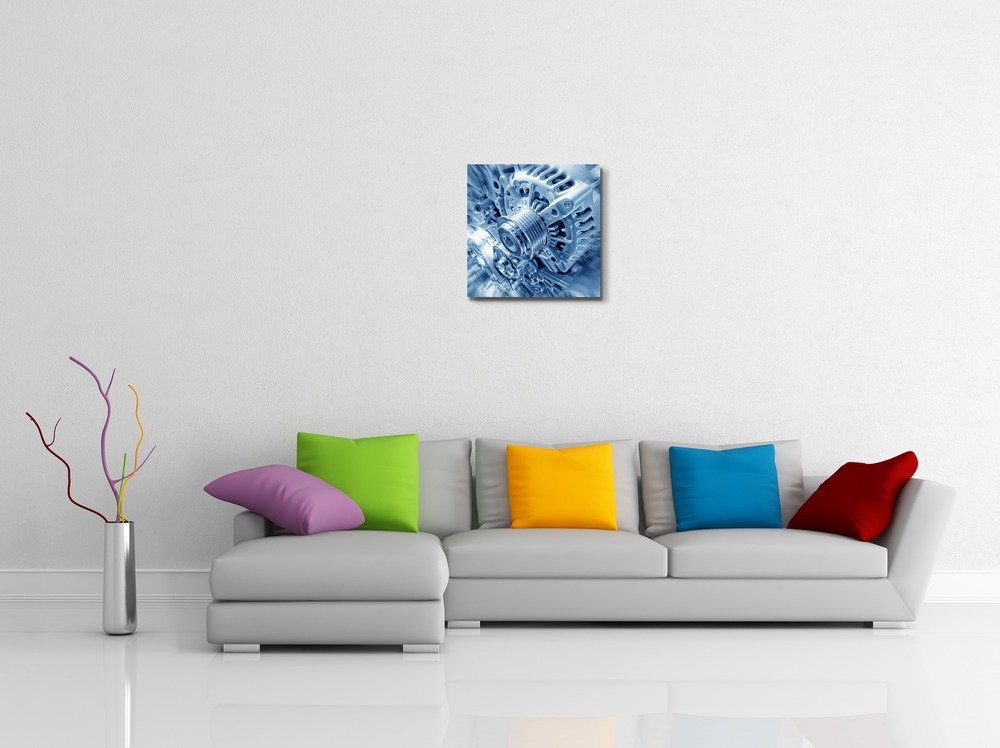 Canvas Prints Wall Art - Close Up of Car Engine/An Internal Combustion Engine Concept of Automotive/Technology | Modern Wall Decor/ Home Decoration Stretched Gallery Canvas Wrap Giclee Print & Ready to Hang - 24'' x 24'' by wall26 (Image #2)