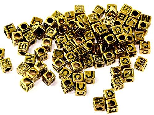 Darice Square Plastic Alphabet Letter Craft Beads Antique Gold - per pack of 85 ()