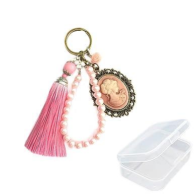 PPX Llavero Rosa con Perlas y Borlas de Rose, una Decoración ...