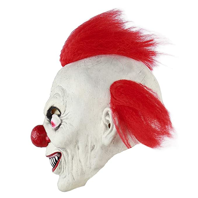 Amazon.com: TV Clown Costume Latex Mask Creepy Evil Scary Halloween Mask for Adults Ghost Festive Party Horror Supplies Decoration (red): Clothing