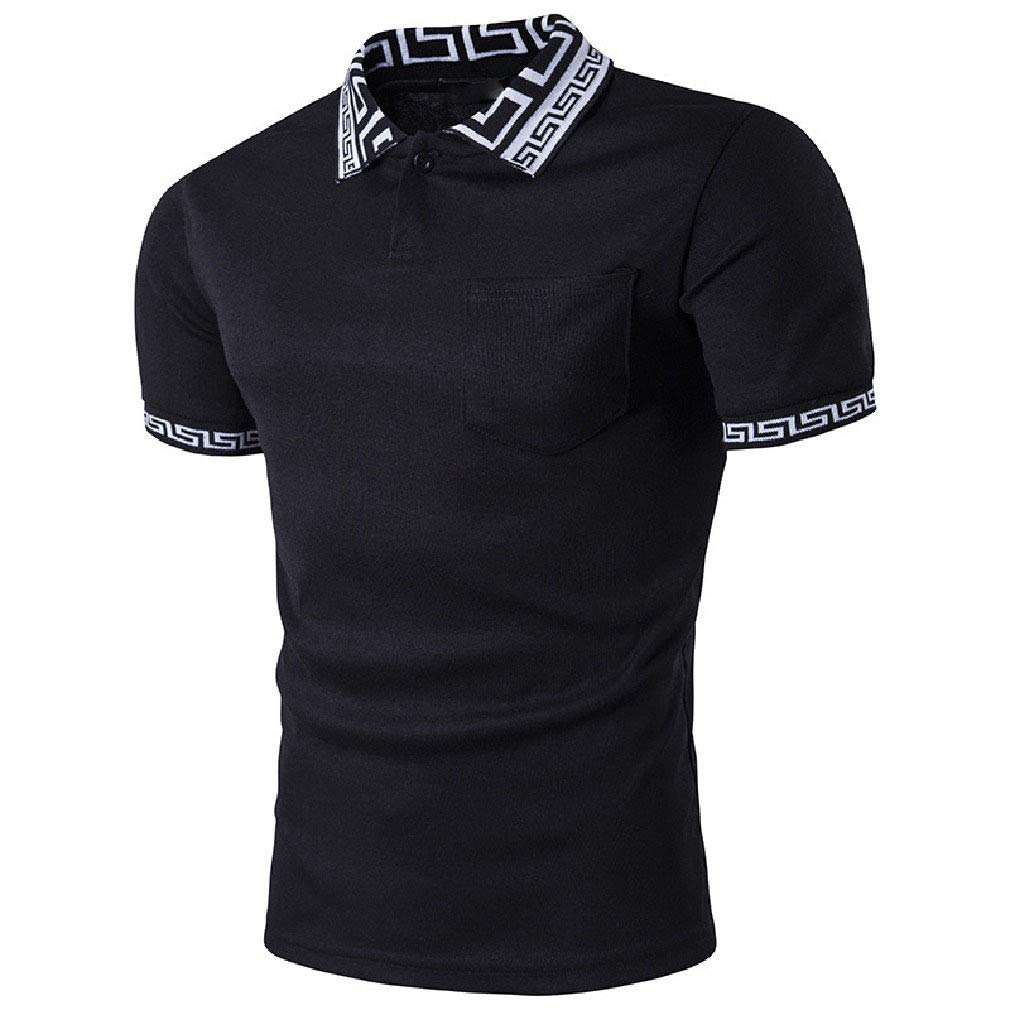 YUSKYMen Casual Summer Hit Color Plus-Size Short Sleeve Polo Shirts