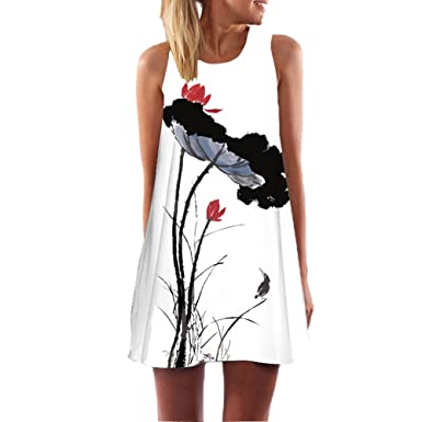 Floral Print Women Dress Work Office Party Casual Girls Vestidos Summer Beach Robe Femme S
