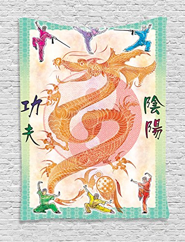 Ambesonne Animal Decor Collection, Asian Theme Chinese Dragon with Martial Arts Figures Japanese Samurai and Ying Yang Picture, Bedroom Living Room Dorm Wall Hanging Tapestry, Multi by Ambesonne