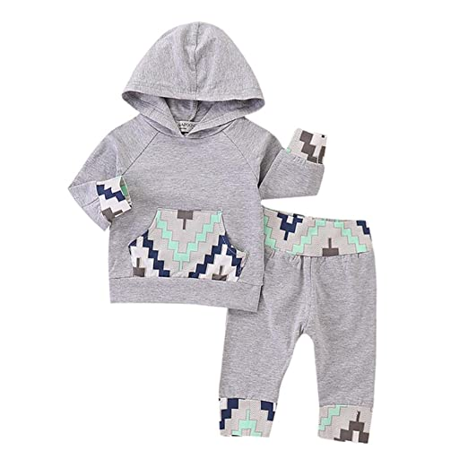 7004ba71c324 Amazon.com  Outtop(TM))) Newborn Toddler Infant Baby Boys Clothes Geometric  Print Hoodie Tops+Long Pants Set Outfits  Clothing