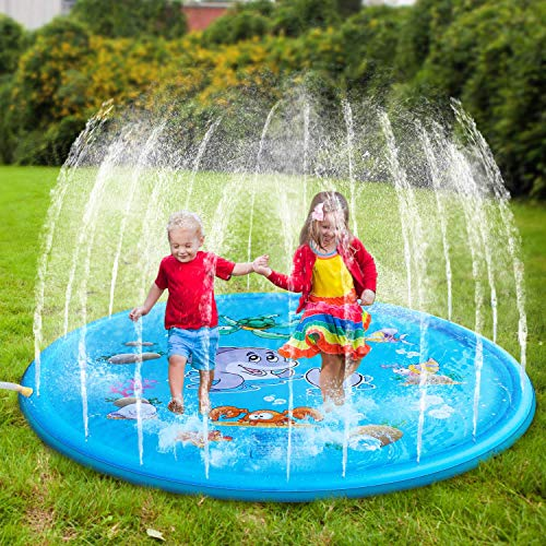Yealsha Sprinkle and Splash Play Mat 39, Inflatable Outdoor Sprinkler Pad Summer Water Pad Toys Swimming Party Gift for Kids Children Infants Toddlers Boys Girls Blue