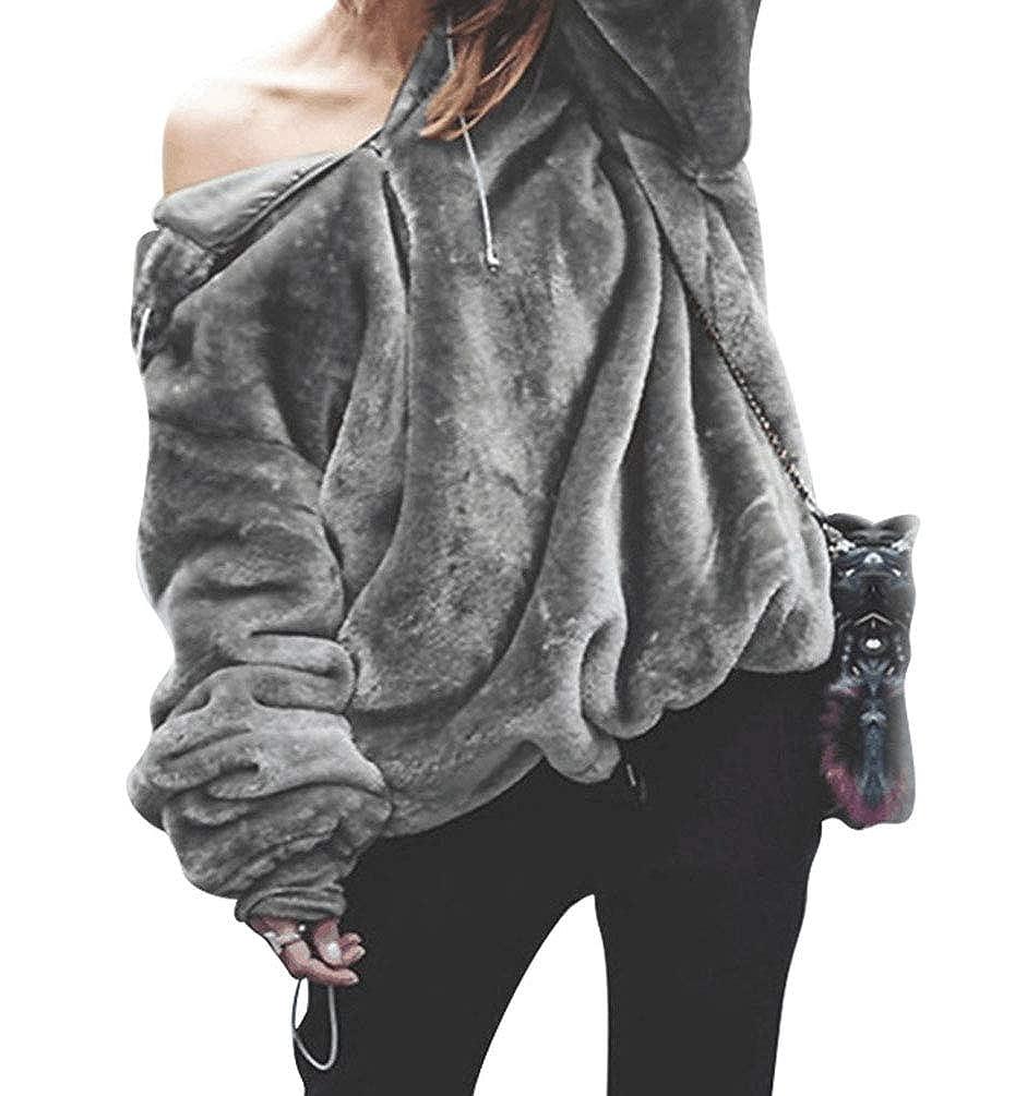 Zengbang Donna Casual Caldo Pullover Felpe Giacca Maglione a Maglie Leggere Pelose Inverno Giubbotto Cappotto