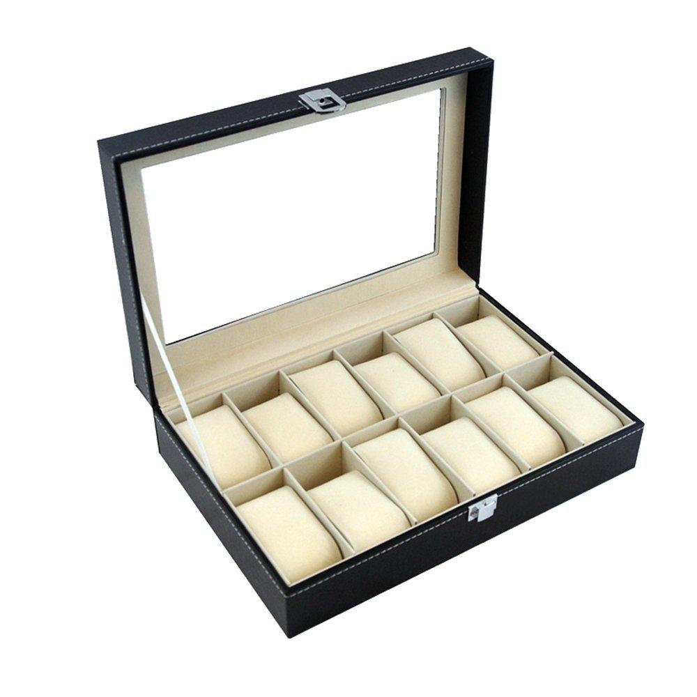 時計ボックスオーガナイザーケース、Woodsam ( TM ) – ジュエリーコレクション – PU合成レザー – displayケース 13Lx9Wx5H SK12SS B00T6S9JKE12 Slots