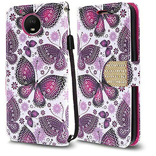 Luckiefind Case Compatible With Motorola Moto E4 PLUS XT1773, Premium PU Leather Flip Wallet Credit Card Cover Case, Stylus Pen, Screen Protector (Wallet - Motorola Faceplates Phone Pink