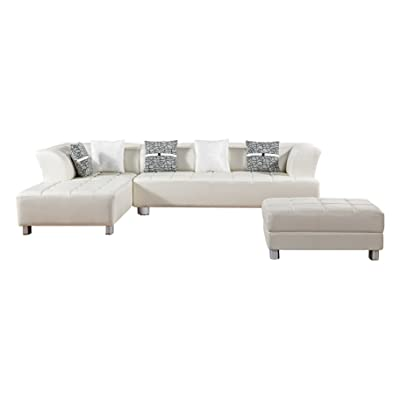 American Eagle Furniture AE-L138L-IV Aventura CollectionFaux Leather Sectional Sofa with Ottoman, Ivory
