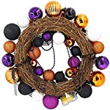 "Valery Madelyn 20"" Pre-Lit Traditional Halloween Wreath with Spooky Shatterproof Ornaments Including Skulls,Spiders,Eye Balls,Bats and Masks,Wooden Base with 20 LED Lights,Remote and Timer Included"