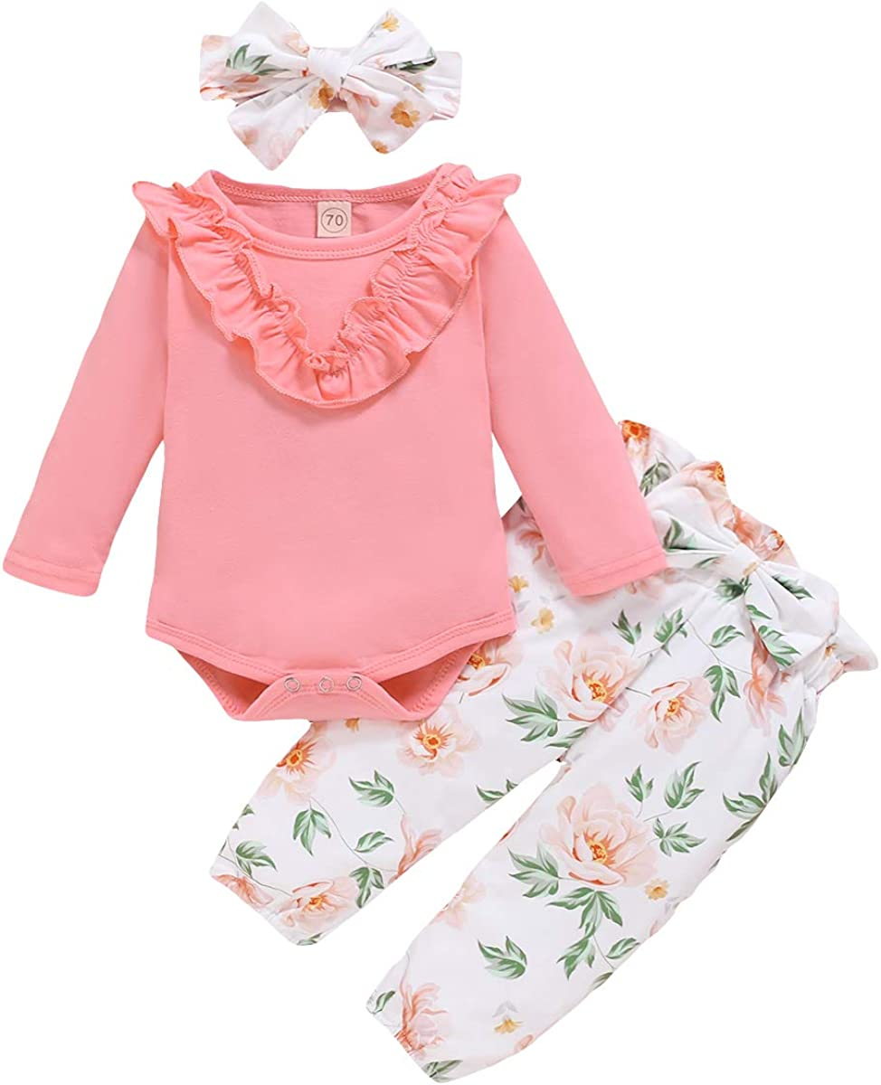 Infant Baby Girl Long Sleeves Romper Tops+Floral Pants+Headbands Set Outfits