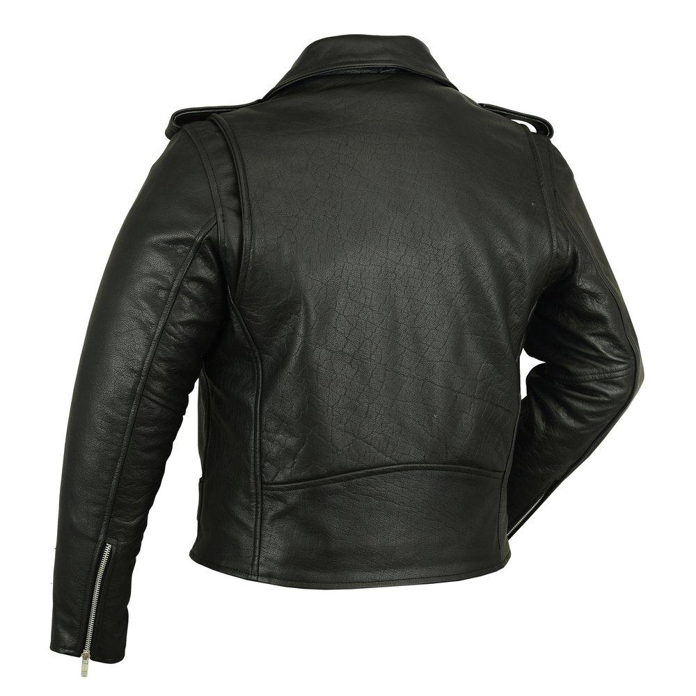 7XL, Black Motorcycle Jacket DS730 Mens Classic Plain Side Police Style M//C Jacket
