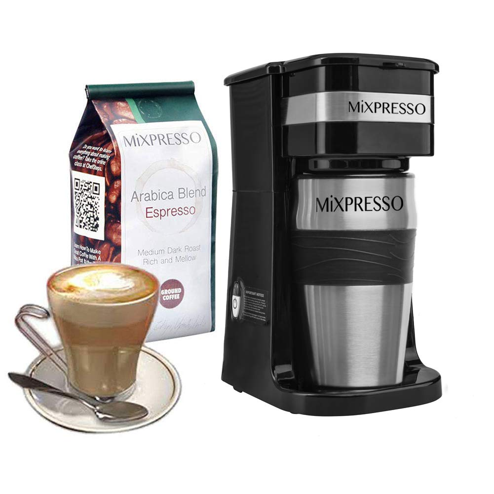 Ultimate 2-In-1 Single Cup Coffee Maker & 14oz Travel Mug Combo | Portable & Lightweight Personal Drip Coffee Brewer & Tumbler Advanced Auto Shut Off Function & Reusable Eco-Friendly Filter by Mixpresso