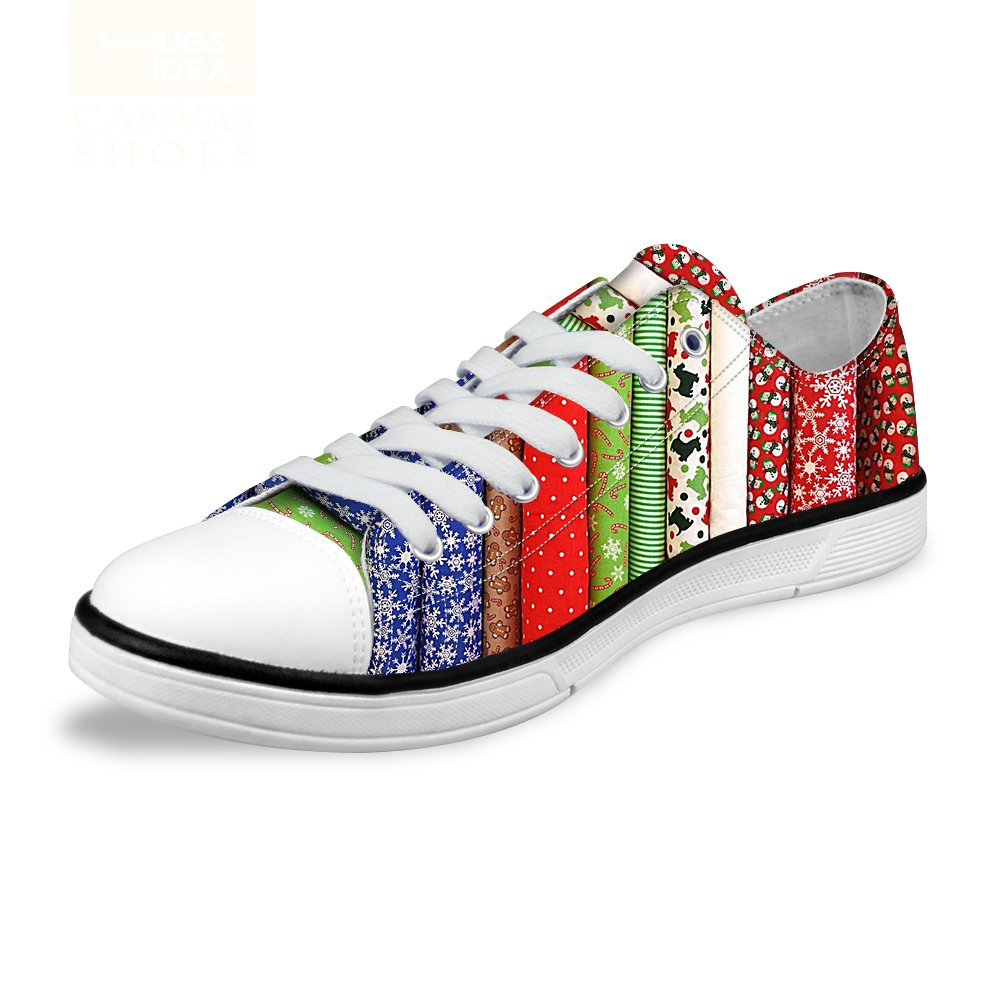5254ea75f21b2 FOR U DESIGNS Stylish Unisex Stripe Wave Print Low Top Flat Shoes  Lightweight Fashion Sneaker Lace-up