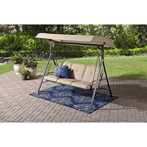 Mainstays 3 Seat Porch and Patio Swing, Tan