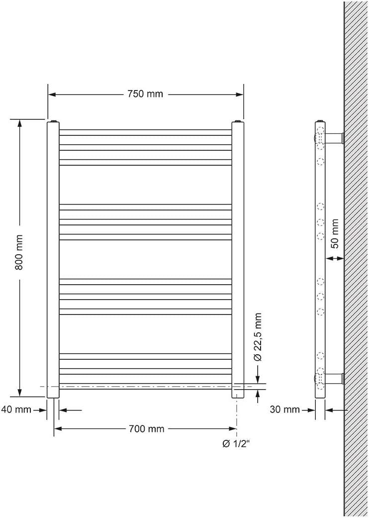 Heizk/örper Handtuchw/ärmer Handtuchtrockner Wei/ß 400 x 1800 mm gerade mit Seitenanschluss ECD Germany Badheizk/örper Elektrisch mit Heizstab 1200W