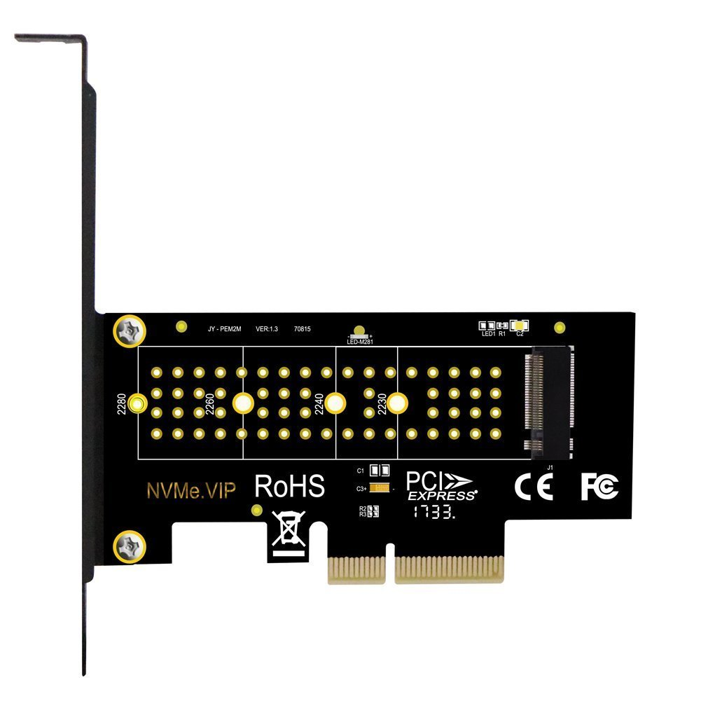 This PCI-e 3.0 x4 Host Adapter for M.2 NVMe PCI-e SSD Allows