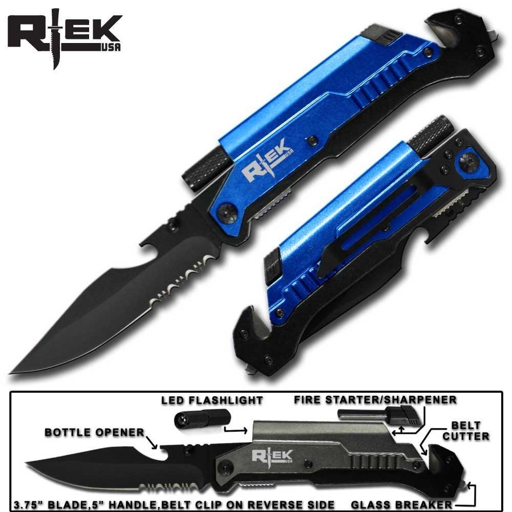 9'' Tactical Spring Assisted Red Survival 7 in 1 Rescue Pocket Knife LED Light Fire Starter Blade Sharpener Bottle Opener Glass Breaker Belt Cutter (Blue)