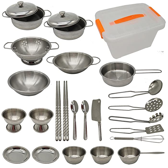 ENPEI 23 Pieces Stainless Steel Kitchen Toys Pretend Play Pots Pans Cookware Kits for Kids, Come with a Handy Storage Box