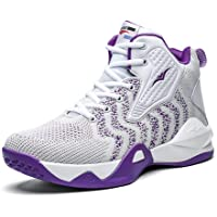 WELRUNG Unisex High Top Lightweight Fly-Weaving Running Jogging Sneakers Basketball Shoes for Youth